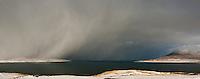 Winter snow flurry over Luskentyre, Isle of Harris, Outer Hebrides, Scotland