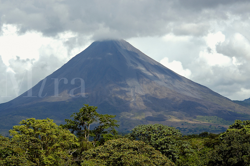 Arenal Volcano, Costa Rica with cloud cover.