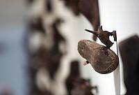 """Un particolare dell'installazione dell'artista italiano Mimmo Paladino in occasione della presentazione della mostra evento """"Opera per l'Ara Pacis"""" col musicista britannico Brian Eno, a Roma, 10 marzo 2008..A particular of the installation of the Italian artist Mimmo Paladino for the presentation of the exhibition event """"Work for the Ara Pacis"""" with the British musician Brian Eno in Rome, 10 march 2008..UPDATE IMAGES PRESS/Riccardo De Luca"""