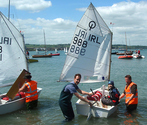 Launching Optimist dinghies at Skerries in North Dublin
