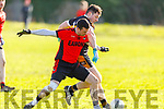 Tussle for possession between Kenmare's Sean O'Leary and Donagh McKivergan of Austin Stacks in Division 1 of the County Football league on Sunday