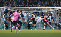 Lawson D'Ath (7) of Northampton Town scores to make it 2-1 during the Sky Bet League 2 match between Wycombe Wanderers and Northampton Town at Adams Park, High Wycombe, England on 3 October 2015. Photo by Andy Rowland.