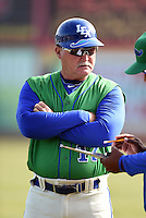 Lexington Legends bench coach Glenn Hubbard (17) before a game against the Hagerstown Suns on May 19, 2014 at Whitaker Bank Ballpark in Lexington, Kentucky.  Lexington defeated Hagerstown 10-8.  (Mike Janes/Four Seam Images)
