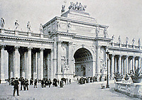 Triumphal Arch and Peristyle for 1893 Columbian Exposition held in Chicago.<br /> Beaux-Arts design.
