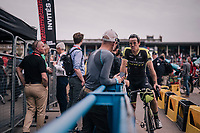 Former Roubaix winner Mathew Hayman (AUS/Michelton-Scott) chatting in the velodrome post-race<br /> <br /> 116th Paris-Roubaix (1.UWT)<br /> 1 Day Race. Compiègne - Roubaix (257km)