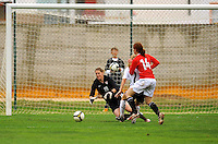 US goalkeeper Nicole Barnhart pounces on the ball. The USA defeated Norway 2-1 at Olhao Stadium on February 26, 2010 at the Algarve Cup.