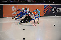 SPEEDSKATING: DORDRECHT: 06-03-2021, ISU World Short Track Speedskating Championships, SF 500m Men, Shaoang Liu (HUN), Konstantin Ivliev (RSU), Semen Elistratov (RSU), Stijn Desmet (BEL), ©photo Martin de Jong