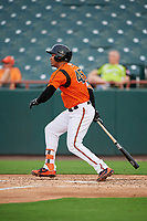 Bowie Baysox designated hitter Anthony Santander (45) follows through on a swing during the first game of a doubleheader against the Trenton Thunder on June 13, 2018 at Prince George's Stadium in Bowie, Maryland.  Trenton defeated Bowie 4-3.  (Mike Janes/Four Seam Images)