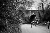 big peloton sneaking into a tiny hole<br /> <br /> 52nd Amstel Gold Race (1.UWT)<br /> 1 Day Race: Maastricht › Berg en Terblijt (264km)