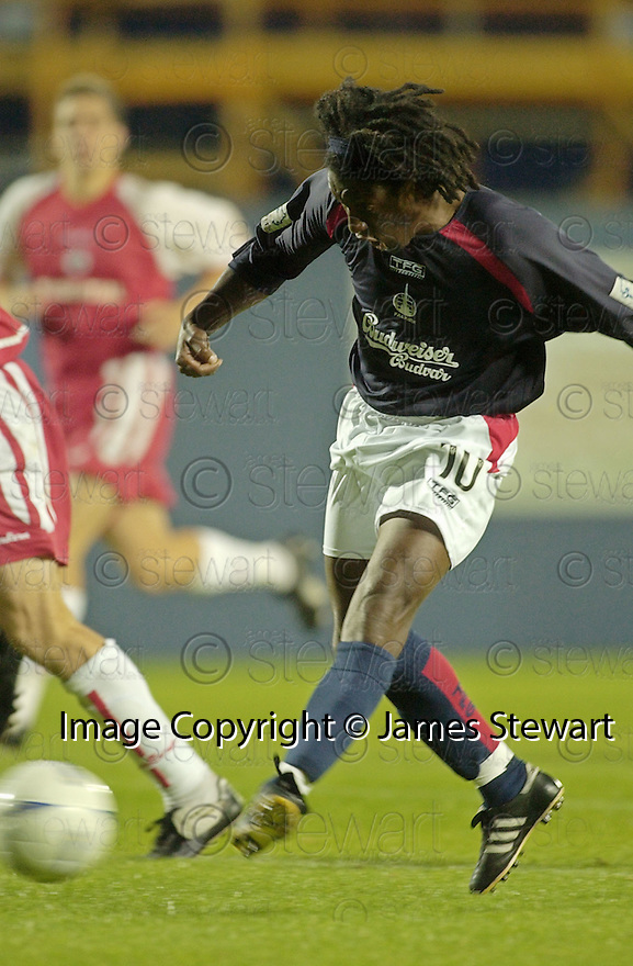31/08/2004   Copyright Pic : James Stewart.File Name : jspa03_falkirk_v_stirling_albion.RUSSELL LATAPY SCORES HIS FIRST FOR FALKIRK.Payments to :.James Stewart Photo Agency 19 Carronlea Drive, Falkirk. FK2 8DN      Vat Reg No. 607 6932 25.Office     : +44 (0)1324 570906     .Mobile  : +44 (0)7721 416997.Fax         :  +44 (0)1324 570906.E-mail  :  jim@jspa.co.uk.If you require further information then contact Jim Stewart on any of the numbers above.........