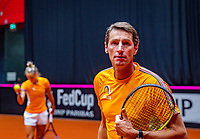 Den Bosch, The Netherlands, Februari 07 2019,  Maaspoort , FedCup  Netherlands - Canada, Captain Paul Haarhuis (NED) with in the background Arantxa Rus (NED)Photo: Tennisimages/Henk Koster