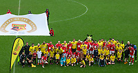 The teams and mascots line up pre match during the Sellebrity Soccer - Celebrity & legends football match with profits going to Watford Community sports & education trust at Vicarage Road, Watford, England on 12 May 2018. Photo by Andy Rowland.