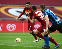 Football, Serie A: AS Roma -  FC Internazionale Milano, Olympic stadium, Rome, January 10, 2021. <br /> Roma's Lorenzo Pellegrini (l) is going to score during the Italian Serie A football match between Roma and Inter at Rome's Olympic stadium, on January 10, 2021.  <br /> UPDATE IMAGES PRESS/Isabella Bonotto