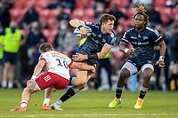 4th June 2021; AJ Bell Stadium, Salford, Lancashire, England; English Premiership Rugby, Sale Sharks versus Harlequins; Sam James of Sale Sharks is tackled by James Lang of Harlequins