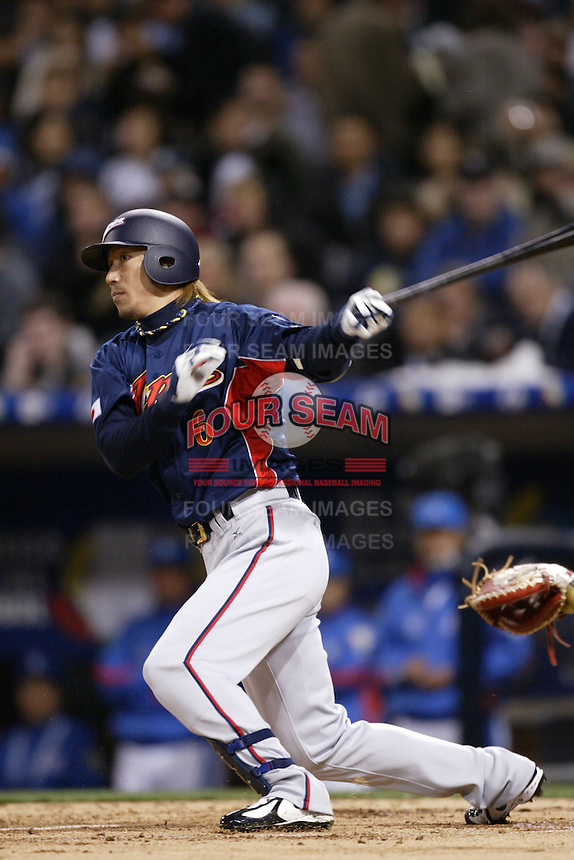 Hitoshi Tamura of Japan during World Baseball Championship at Angel Stadium in Anaheim,California on March 18, 2006. Photo by Larry Goren/Four Seam Images