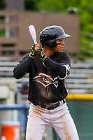 Quad Cities River Bandits shortstop Miguelangel Sierra (4) at bat during a Midwest League game against the Beloit Snappers on May 20, 2018 at Pohlman Field in Beloit, Wisconsin. Beloit defeated Quad Cities 3-2. (Brad Krause/Four Seam Images)