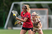NEWTON, MA - MAY 14: Kelly Horning #17 of Fairfield University attempts to control the ball during NCAA Division I Women's Lacrosse Tournament first round game between Fairfield University and Boston College at Newton Campus Lacrosse Field on May 14, 2021 in Newton, Massachusetts.