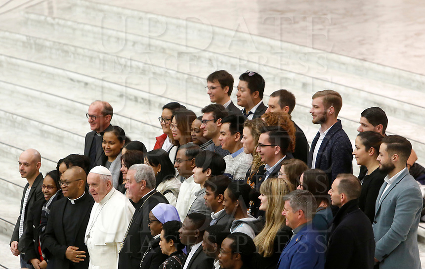 Pope Francis poses with a group of faithful at the end of his weekly general audience in the Paul VI hall at the Vatican, January 22, 2020.<br /> <br /> UPDATE IMAGES PRESS/Riccardo De Luca<br /> <br /> STRICTLY ONLY FOR EDITORIAL USE