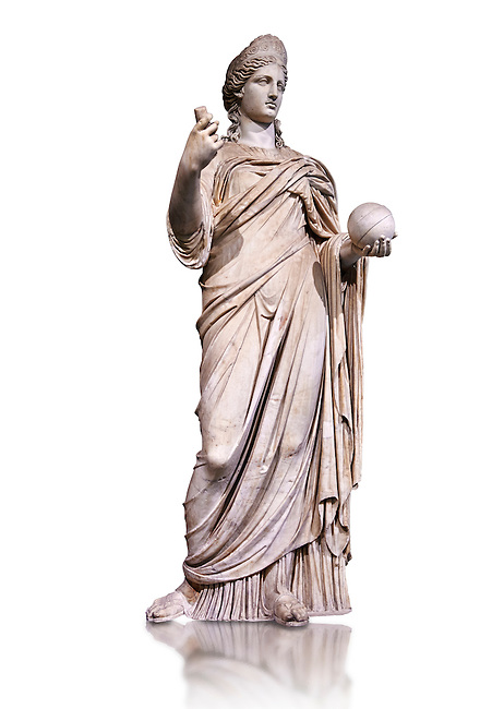 """Statue of Juno known as La Providence, a 2nd century AD Roman sculpture from Rome, Italy. Juno is an ancient Roman goddess, the protector and special counselor of the state. As the patron goddess of Rome and the Roman Empire, Juno was called Regina (""""Queen"""") and, together with Jupiter and Minerva, was worshipped as a triad on the Capitol (Juno Capitolina) in Rome. The Royal Collection Inv No. MR 333 or Ma 485, Louvre Museum, Paris."""