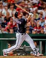 21 September 2018: Washington Nationals first baseman Ryan Zimmerman in action against the New York Mets at Nationals Park in Washington, DC. The Mets defeated the Nationals 4-2 in the second game of their 4-game series. Mandatory Credit: Ed Wolfstein Photo *** RAW (NEF) Image File Available ***