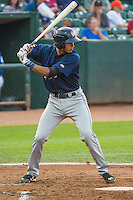 Jake Gatewood (8) of the Helena Brewers at bat against the Ogden Raptors in Pioneer League action at Lindquist Field on August 19, 2015 in Ogden, Utah.Ogden defeated Helena 4-2.  (Stephen Smith/Four Seam Images)