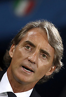 Football: Uefa Nations League match Italy vs Poland, Renato Dall'Ara stadium, Bologna, Italy, September 7, 2018. <br /> Italy's national team coach Roberto Mancini sings the Italy national anthem prior to the Uefa Nations League match between Italy and Poland at the Renato Dall'Ara stadium, Bologna, Italy, September 7, 2018. <br /> <br /> UPDATE IMAGES PRESS/Isabella Bonotto