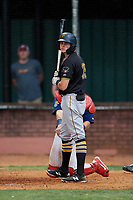 Bristol Pirates right fielder Conner Uselton (25) at bat during a game against the Elizabethton Twins on July 29, 2018 at Joe O'Brien Field in Elizabethton, Tennessee.  Bristol defeated Elizabethton 7-4.  (Mike Janes/Four Seam Images)