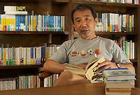 HARUKI MURAKAMAI AT HIS OFFICE IN CENTRAL TOKYO
