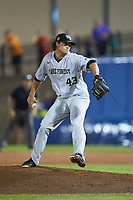 Wake Forest Demon Deacons relief pitcher Griffin Roberts (43) in action against the Florida Gators in Game One of the Gainesville Super Regional of the 2017 College World Series at Alfred McKethan Stadium at Perry Field on June 10, 2017 in Gainesville, Florida. The Gators defeated the Demon Deacons 2-1 in 11 innings. (Brian Westerholt/Four Seam Images)
