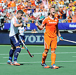 The Hague, Netherlands, June 13: Mink van der Weerden #30 of The Netherlands celebrates after scoring a penalty corner for the leading goal (1-0) during the field hockey semi-final match (Men) between The Netherlands and England on June 13, 2014 during the World Cup 2014 at Kyocera Stadium in The Hague, Netherlands. Final score 1-0 (1-0)  (Photo by Dirk Markgraf / www.265-images.com) *** Local caption *** Mark Gleghorne #14 of England, Mink van der Weerden #30 of The Netherlands