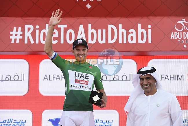 European Champion Alexander Kristoff (NOR) UAE Team Emirates wins Stage 1 and the Green Jersey of the 2018 Abu Dhabi Tour, Al Fahim Stage running 189km from Madinat Zayed to Adnoc School, Abu Dhabi, United Arab Emirates. 21st February 2018.<br /> Picture: LaPresse/Fabio Ferrari   Cyclefile<br /> <br /> <br /> All photos usage must carry mandatory copyright credit (© Cyclefile   LaPresse/Fabio Ferrari)