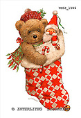 GIORDANO, CHRISTMAS ANIMALS, WEIHNACHTEN TIERE, NAVIDAD ANIMALES, Teddies, paintings+++++,USGI1086,#XA#,christmas stocking