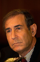 March 14th, 2002, Montreal, Quebec, Canada; <br /> <br /> Israel's Minister of Internal Security Shlomo Ben Ami, who is responsible for conditions in Israeli prisoners<br /> share is tought on the Palestinian-Israekina conflict during a press conference, March 14, 2002 in Montreal, Canada<br /> <br /> <br /> <br /> <br /> <br /> (Mandatory Credit: Photo by Sevy - Images Distribution (©) Copyright 2002 by Sevy<br /> <br /> NOTE :  D-1 H original JPEG, saved as Adobe 1998 RGB