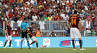 Calcio, Serie A: Roma vs Juventus. Roma, stadio Olimpico, 30 agosto 2015.<br /> Roma's Miralem Pjanic, second from right, scores on a free kick during the Italian Serie A football match between Roma and Juventus at Rome's Olympic stadium, 30 August 2015.<br /> UPDATE IMAGES PRESS/Isabella Bonotto