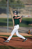 Sean McCann (44), from Farmers Branch, Texas, while playing for the Athletics during the Under Armour Baseball Factory Recruiting Classic at Red Mountain Baseball Complex on December 29, 2017 in Mesa, Arizona. (Zachary Lucy/Four Seam Images)