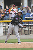 Lansing Lugnuts third baseman Vladimir Guerrero Jr. (27) throws to first base during a game against the Clinton LumberKings at Ashford University Field on May 9, 2017 in Clinton, Iowa.  The Lugnuts won 11-6.  (Dennis Hubbard/Four Seam Images)