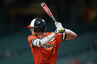 Clayton Harp (47) of the Sam Houston State Bearkats at bat against the Mississippi State Bulldogs during game eight of the 2018 Shriners Hospitals for Children College Classic at Minute Maid Park on March 3, 2018 in Houston, Texas. The Bulldogs defeated the Bearkats 4-1.  (Brian Westerholt/Four Seam Images)