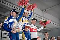 finish podium:<br /> 1/ Piet Allegaert (BEL/Sport Vlaanderen-Baloise)<br /> 2/ Florian Sénéchal (FRA/Deceuninck - Quick Step)<br /> 3/ Jasper Stuyven (BEL/Trek-Segafredo)<br /> <br /> 79th Tour de l'Eurométropole 2019 (BEL/1.HC)<br /> One day race from La Louvière to Tournai (177km)<br /> <br /> ©kramon