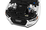 Car stock 2014 Audi A5 Premium Quattro 2 Door Coupe engine high angle detail view