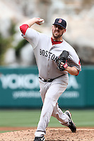 John Lackey #41 of the Boston Red Sox pitches against the Los Angeles Angels at Angel Stadium in Anaheim, California on April 24, 2011. Photo by Larry Goren/Four Seam Images