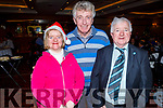 Attending the Tralee Branch of the Irish Wheelchair Associations Christmas Party in the Meadowlands Hotel on Sunday.<br /> L to r: Grace O'Mahoney, Tom O'Brien and Pat O'Mahoney (Organiser).