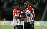 MEDELLIN - COLOMBIA, 10-10-2020: Miguel Borja del Junior celebra después de anotar el primer gol de su equipo durante partido por la fecha 13 de la Liga BetPlay DIMAYOR I 2020 entre Atlético Nacional y Atlético Junior jugado en el estadio Atanasio Girardot de la ciudad de Medellín. / Miguel Borja of Junior celebrates after scoring the first goal of his team during match for the date 13 as part of BetPlay DIMAYOR League I 2020 between Atletico Nacional y Atletico Junior played at Atanasio Girardot stadium in Medellín city. Photo: VizzorImage / Juan Augusto Cardona / Cont