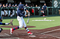 Vanderbilt Commodores outfielder Austin Martin (16) bats against the Duke Blue Devils at Hawkins Field in Nashville, Tennessee, on Feb. 18, 2018. Vanderbilt beat Duke 9-1. (Danny Parker/Four Seam Images)