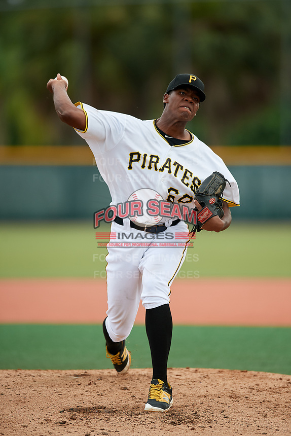 GCL Pirates relief pitcher Wilmer Contreras (60) delivers a pitch during the second game of a doubleheader against the GCL Yankees East on July 31, 2018 at Pirate City Complex in Bradenton, Florida.  GCL Pirates defeated GCL Yankees East 12-4.  (Mike Janes/Four Seam Images)
