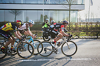 race leaders Greg Van Avermaet (BEL/BMC), Philippe Gilbert (BEL/Quick Step floors) & Oliver Naesen (BEL/AG2R-LaMondiale) on their way to the finish<br /> <br /> 60th E3 Harelbeke (1.UWT)<br /> 1day race: Harelbeke › Harelbeke - BEL (206km)