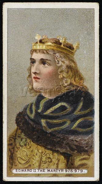 EDWARD THE MARYTR King of England (975-979) assassinated possibly on the command of his stepmother Aelfthryth ambitious for her son Aethelred II / Unattributed design on a cigarette card / 963? - 978