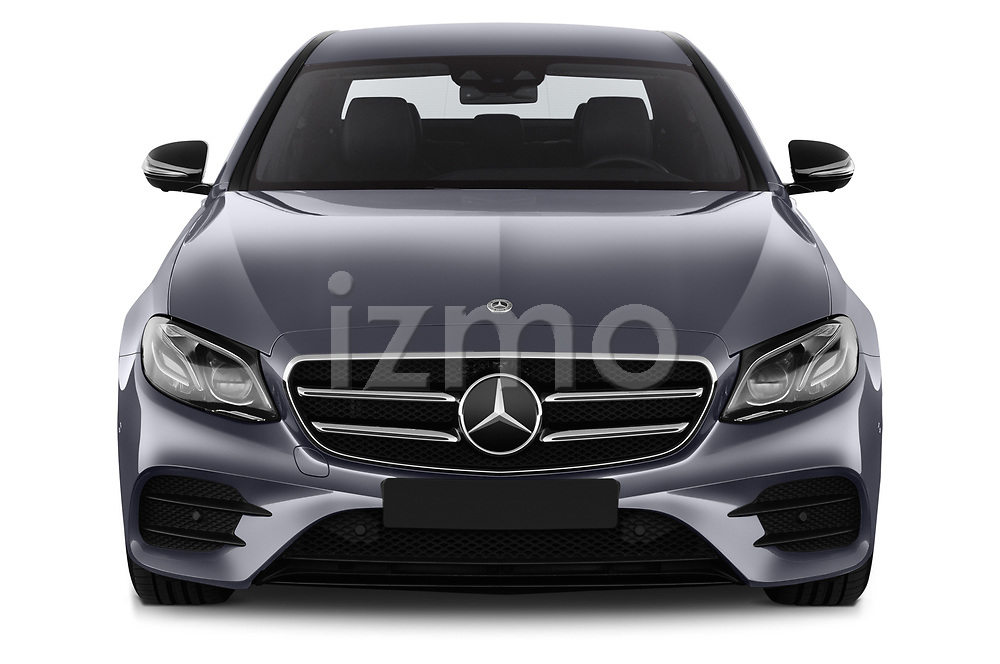 Car photography straight front view of a 2018 Mercedes Benz E Class Base 4 Door Sedan