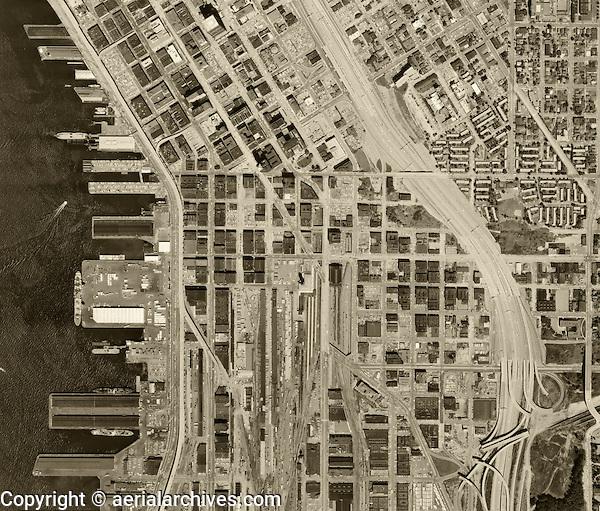 historical aerial photograph Seattle, Washington, 1969