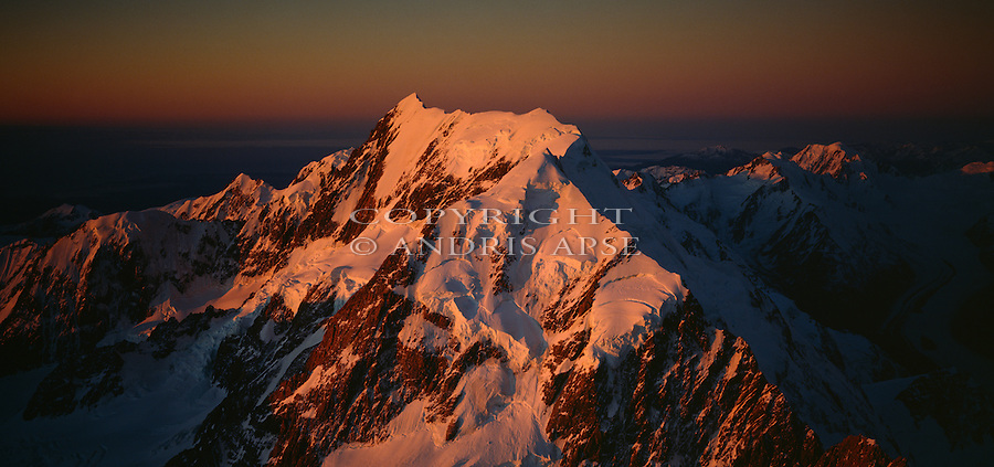 Aerial of sunset on Mount Cook. Mount Cook National Park New Zealand.