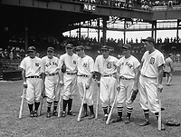 Seven of the American League's 1937 All-Star players: Lou Gehrig, Joe Cronin, Bill Dickey, Joe DiMaggio, Charlie Gehringer, Jimmie Foxx, and Hank Greenberg. All seven were inducted into the Hall of Fame.July 7, 1937 in Washington D.C